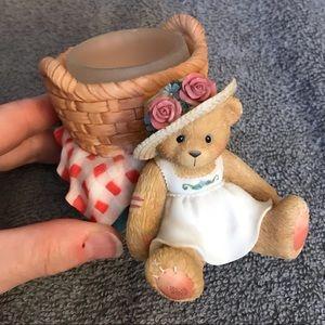 Cute Cherished Teddies Picnic Basket Votive